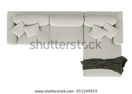 Modern Sofa White Fabric Draped Fabric Stock Photo