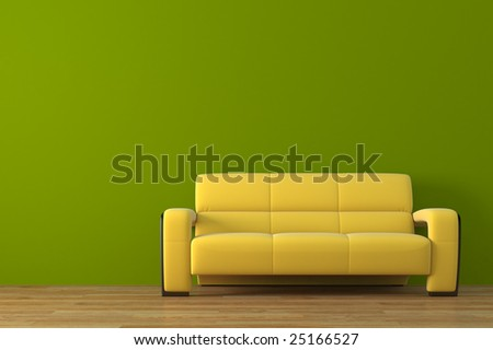 Modern sofa with bonsai tree  render - stock photo