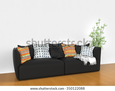 Modern sofa with colorful cushions - stock photo