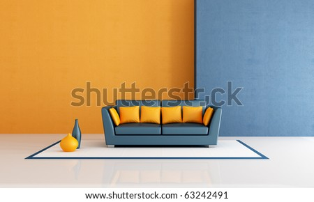 modern  sofa with pillow in aminimalist blue and orange living room - rendering - stock photo