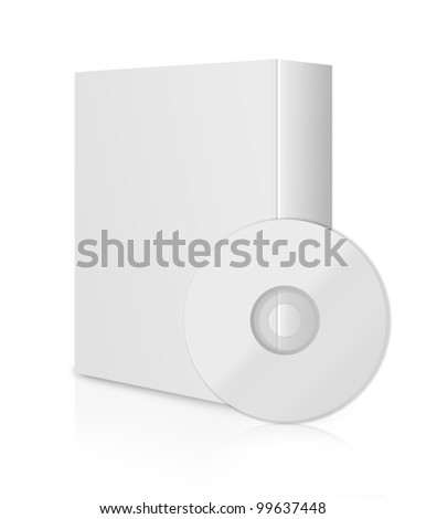 Modern Software Box, blank box with DVD or CD. - stock photo