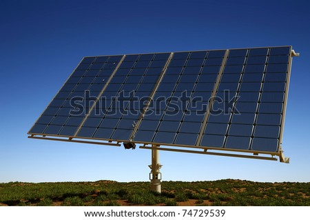 Modern solar battarei on a background of the sky