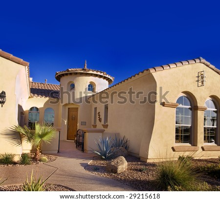 Modern southwest home exterior - stock photo
