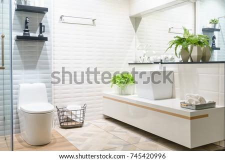 Modern Spacious Bathroom Bright Tiles Toilet Stock Photo & Image ...