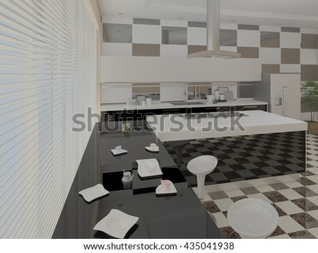 Modern spacious kitchen with functional furniture, 3d rendering.