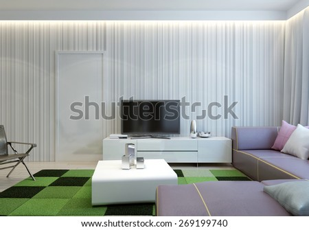 Modern spacious living room. 3d render - stock photo