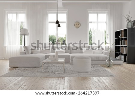 Modern Spacious Lounge Or Living Room Interior With Monochromatic White  Furniture And Decor Below Three Tall Part 91