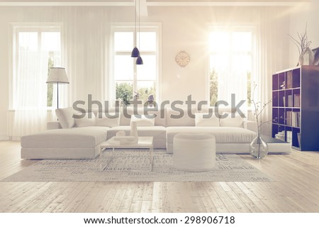 Modern spacious lounge or living room interior with monochromatic white furniture and decor below three tall bright windows with a dark bookcase accent in the corner. 3d Rendering. - stock photo