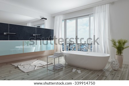 Modern spacious white bathroom interior with a freestanding tub, long mirror and vanity unit and glass doors leading to a patio, daylight. 3d Rendering. - stock photo