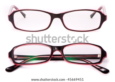 Modern spectacles isolated on white background