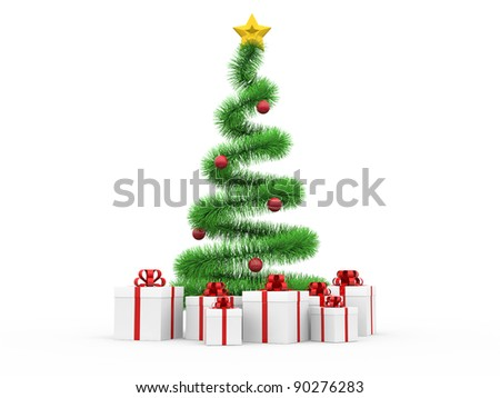 Modern spiral Christmas tree with gift boxes