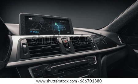 Modern sports car navigation display - 3D illustration (3D rendering)