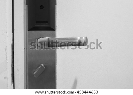modern stainless with card insert handle on  door