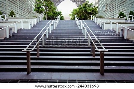 Modern stairs leading to an office building - stock photo