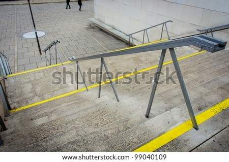 Modern stairs with yellow line angle shot