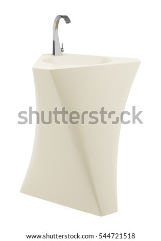 modern standing beige bathroom sink isolated on white background. 3d illustration