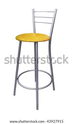 Modern steel bar stool isolated on white