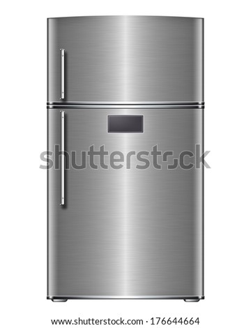 Modern steel refrigerator - stock photo