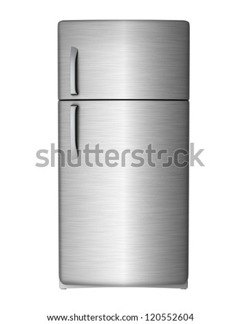 Modern steel refrigerator - isolated on white background - stock photo