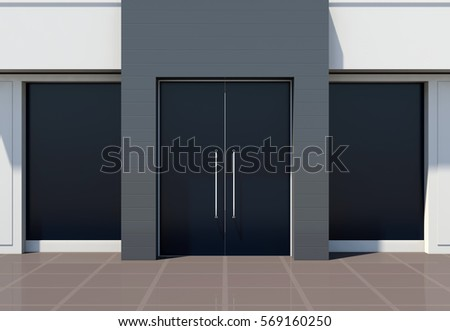 Modern store facade for small business 3D render