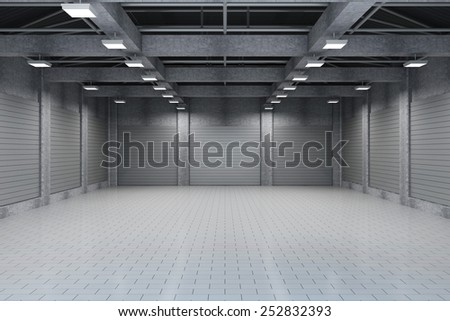 Modern Storehouse 3D Interior with Closed Metal Blinds. 3D Rendering