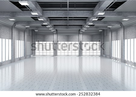Modern Storehouse 3D Interior with Large Windows. 3D Rendering - stock photo