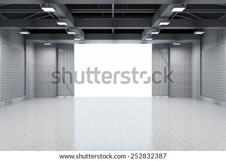 Modern Storehouse 3D Interior with Opened Doors. 3D Rendering