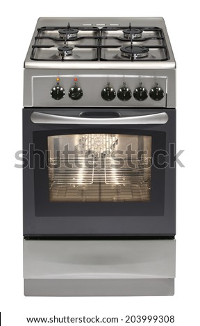 Modern stove isolated on white  - stock photo