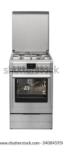 Modern stove isolated on white background with clipping path. - stock photo
