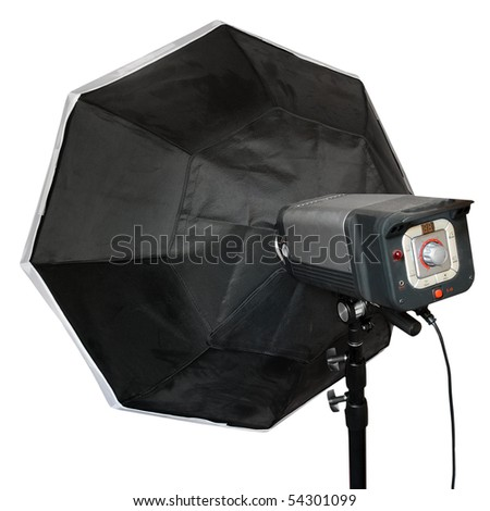 Modern studio flash with big octagonal soft-box isolated on a white background. - stock photo