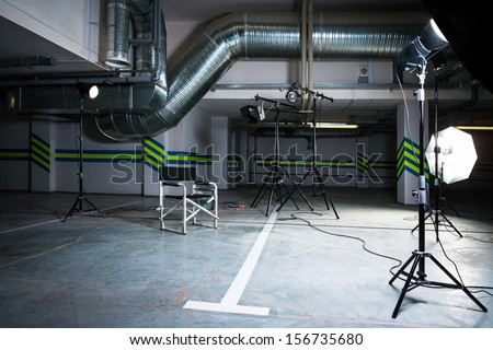 modern studio in the parking lot - stock photo