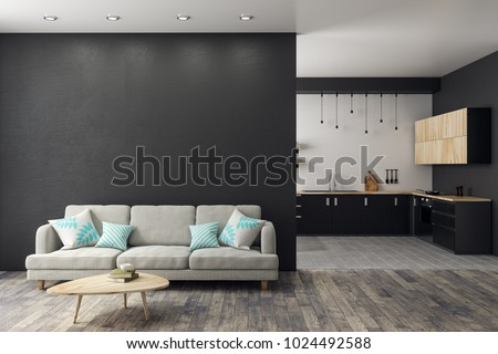 Modern Studio Interior With Living Room Kitchen And Copy Space On Wall Mock Up