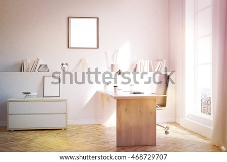 Modern study in big city with desk, chair and shelf. Concept of home work. 3d rendering. Mock up. Toned image