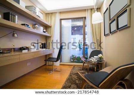 modern study room with nice book self - stock photo