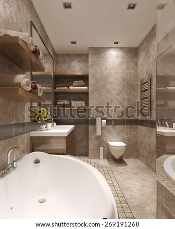 Modern Style Bathroom bathroom modern style wc bidet wardrobe stock illustration