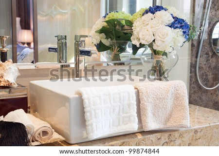 Modern style bathroom design with hand wash basin and other decoration - stock photo