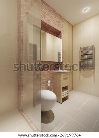 Modern style bathroom interior. 3d render