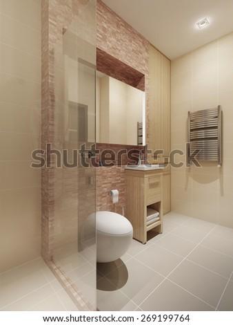 Modern style bathroom interior. 3d render - stock photo