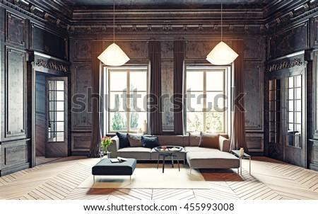 modern style black living room apartment stock illustration