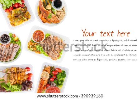 """Modern style cuisine cooked by clean food concept including European, Japanese, Thai, and Chinese food style in lunch box on white background with easy removable text """"lorem ipsum"""" - stock photo"""