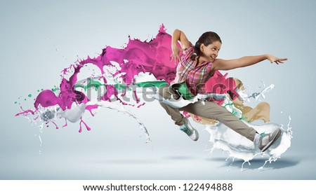 Modern style dancer jumping and paint splashes Illustration - stock photo