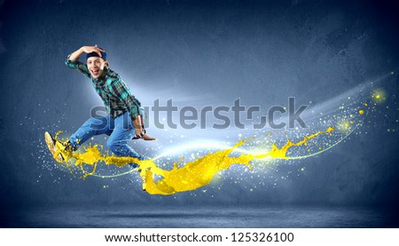 Modern style dancer jumping and paint splashes. Illustration