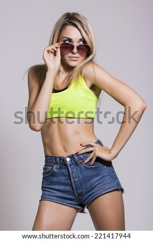 modern style dancer  on studio background - stock photo