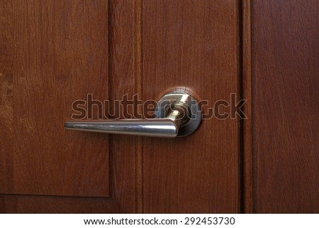 Modern style door handle on natural wooden door, selective focus