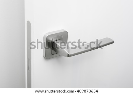 Modern style door handle on the door