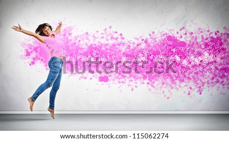 Modern style female dancer jumping and posing. Illustration