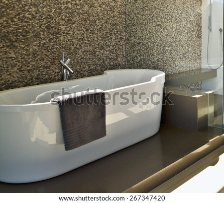 modern style interior bathroom - stock photo
