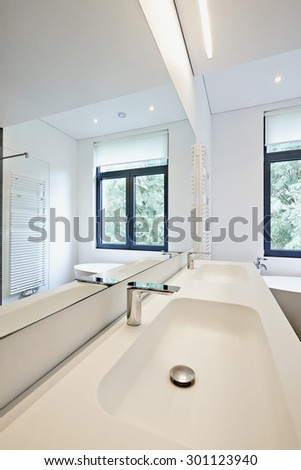 Modern style interior design of a bathroom  - stock photo