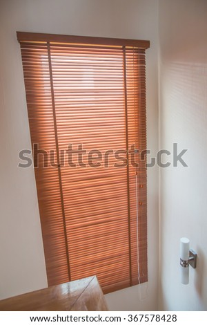 modern style of blinds wood pattern closed sunlight