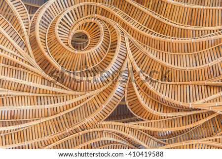 modern style pattern nature background of wave brown handicraft weave texture bamboo surface for decorative wall - stock photo
